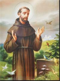 "19"" x 27"" Poster of St. Francis of Assisi, Italian gold embossed, #, 98464"