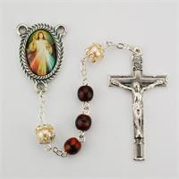 6mm Divine Mercy Rosary, Red & Black Glsss, # 98508