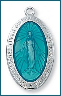 "1-1/16"" Sterling Silver Miraculous Medal, Blue Enamel, 18"" Rhodium Plated Chain, # 99146"