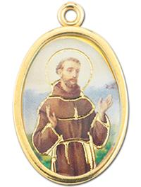 "7/8"" Enameled Saint Medal w/ Gold Highlights, St. Francis of Assisi, 10-Pack, # 9919"