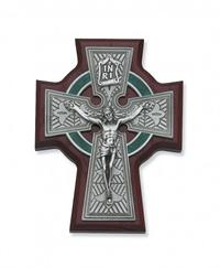 "5.5"" Cherry Stained Celtic Crucifix, Silver tone Corpus, # 99235"