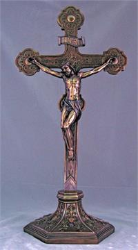"22.5"" Standing Crucifix Cold Cast Bronze Resin, # 99368"