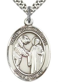 "St. Columbanus Sterling Silver Medal, 3/4""x9/16"", Your Choice of Chain, # 64600"