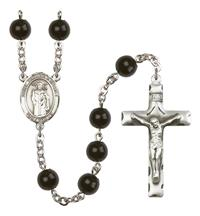 St. Thomas A Becket Rosary, 7mm Black Onyx Beads, Silver Plate, # 14264