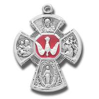 "Red Enameled 4-Way Cross, Sterling, 1"", Your choice of chain, # 27206"