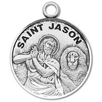 "3/4"" Round Sterling Medal, Your Choice of Chain, St. Jason, #27217"