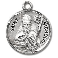"3/4"" Round Sterling Medal, Your Choice of Chain, St. Nicholas, #27233"