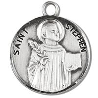 "3/4"" Round Sterling Medal, Your Choice of Chain, St. Stephen, #96801"
