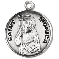 "3/4"" Round Sterling Medal, Your Choice of Chain, St. Monica, #96828"