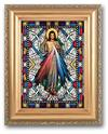 Textured Italian Art Glass in Antiqued Gold Frame, Divine Mercy, # 1366