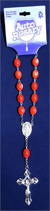 Red Auto Rosary, 13mm Cateye Plastic Beads, # 18452-sale