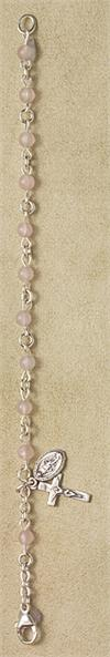 4mm Rose Quartz Rosary Bracelet, 100% Sterling Components, 6.5