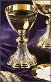 24kt Gold Plate Chalice and Paten Set, 8.5