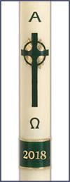 Emerald Celtic Cross Paschal Candle Special #10, 3