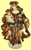 Saint Anthony and Child hanging wall plaque in hand painted and hand crafted ceramic, 12