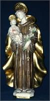 Saint Anthony and Child in hand-painted and hand-crafted ceramic, Antique Finish, 25