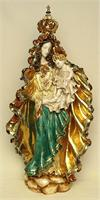 Standing Madonna and Child w/ Crown, hand-painted and hand-crafted ceramic, 26