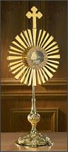 Large Cross Monstrance with Luna, Brass, 30