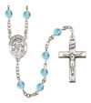 Angel de la Guarda Spanish Rosary, 6mm Fire Polished Aqua Beads, Silver Plate, # 15809