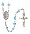 The Lord is my Shepherd Rosary, 6mm Fire Polished Aqua Beads, Silver Plate, # 15810