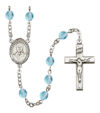 Blessed Giorgio Frassati Rosary, 6mm Fire Polished Aqua Beads, Silver Plate, # 15975