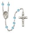 Blessed Caroline Gerhardinger Rosary, 6mm Fire Polished Aqua Beads, Silver Plate, # 15978