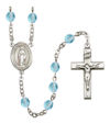 Virgin of the Globe Rosary, 6mm Fire Polished Aqua Beads, Silver Plate, # 16048