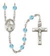 Blessed Emilee Doultremont Rosary, 6mm Fire Polished Aqua Beads, Silver Plate, # 16094