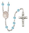 Blessed Herman the Cripple Rosary, 6mm Fire Polished Aqua Beads, Silver Plate, # 16107