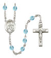 St. Viator of Bergamo Rosary, 6mm Fire Polished Aqua Beads, Silver Plate, # 16112