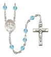 Sts. Peter & Paul Rosary, 6mm Fire Polished Aqua Beads, Silver Plate, # 16114