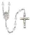 Angel de la Guarda Spanish Rosary, 6mm Fire Polished Crystal Beads, Silver Plate, # 16524
