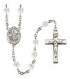 The Lord is my Shepherd Rosary, 6mm Fire Polished Crystal Beads, Silver Plate, # 16525