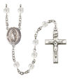 Virgen de Guadalupe Spanish Rosary, 6mm Fire Polished Crystal Beads, Silver Plate, # 16613