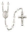 St. Victor of Marseilles Rosary, 6mm Fire Polished Crystal Beads, Silver Plate, # 16632