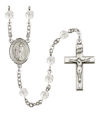 St. Aaron Rosary, 6mm Fire Polished Crystal Beads, Silver Plate, # 16664