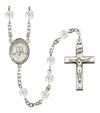 Blessed Giorgio Frassati Rosary, 6mm Fire Polished Crystal Beads, Silver Plate, # 16687