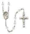 Blessed Caroline Gerhardinger Rosary, 6mm Fire Polished Crystal Beads, Silver Plate, # 16690