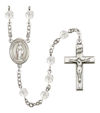 Virgin of the Globe Rosary, 6mm Fire Polished Crystal Beads, Silver Plate, # 16775