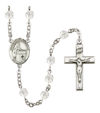 Blessed Emilee Doultremont Rosary, 6mm Fire Polished Crystal Beads, Silver Plate, # 16827