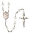 Blessed Herman the Cripple Rosary, 6mm Fire Polished Crystal Beads, Silver Plate, # 16839