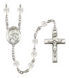 St. Viator of Bergamo Rosary, 6mm Fire Polished Crystal Beads, Silver Plate, # 16844