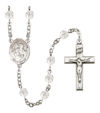 Sts. Peter & Paul Rosary, 6mm Fire Polished Crystal Beads, Silver Plate, # 16847