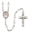 Blessed Emilie Tavernier Gamelin Rosary, 6mm Fire Polished Crystal Beads, Silver Plate, # 16874