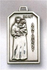 "1-1/8"" x 11/16"" St. Anthony Medal Sterling Silver, # 96553"